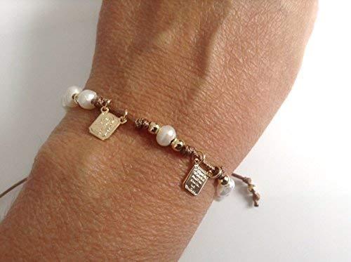 Brown Scapular Medal Catholic Adjustable Bracelet for Women