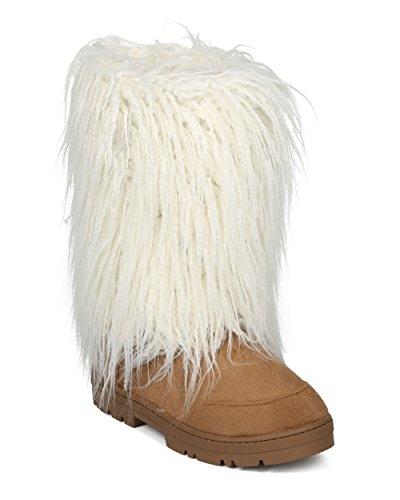 Alrisco Dames Faux Fur Mid Kalf Lug Zool Winterlaars - Hg75 By Nature Breeze Collectie Tan Faux Suede