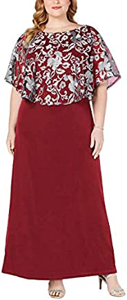 Jhichic Women's Plus Size Embroidered Capelet Maxi Dress Mesh Lace Evening Gown Ele