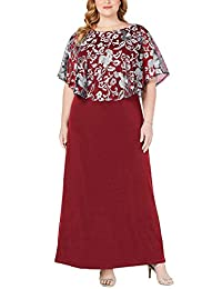 Jhichic Women's Plus Size Embroidered Capelet Maxi Dress Mesh Lace Evening Gown Elegant