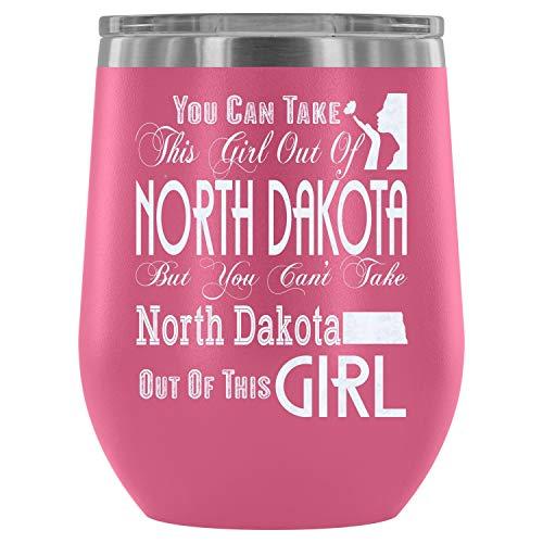 Christmas-Steel Stemless Wine Glass Tumbler, I'm In North Dakota Wine Tumbler, North Dakota Vacuum Insulated Wine Tumbler (Wine Tumbler 12Oz - Pink)