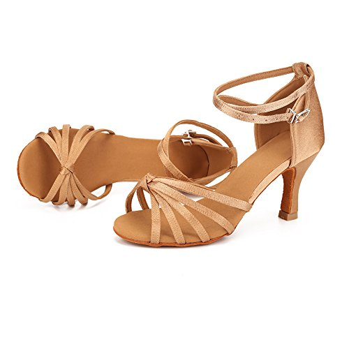 Tacón 7cm Baile Lazo de para Medio Beige Latino Mujer Zapatos tacón Alto VASHCAME de wXUEqaxTO
