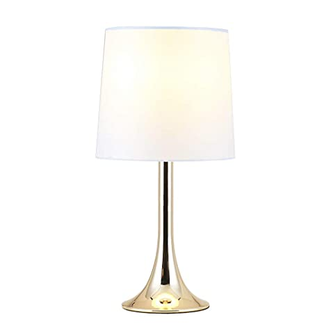 Amazon.com: Cuaulans Modern Simple Table Lamp, Gold Lamps Desk Lamp Side  Table Lamps For Bedroom, Living Room, Office, Study Room, Gold Body And  White ...