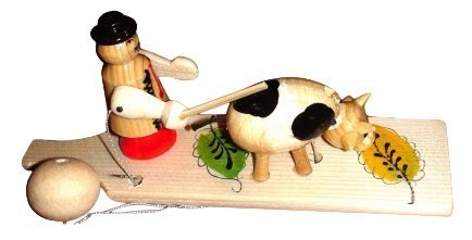 [Handcrafted Hand-eye Coordination Wooden Retro Old Fashioned TOY Cowboy Herding Cow ECO-friendly Natural Beech WOOD ORIGINAL Fun GIFTS for Children Girls and Boys FAST] (Mary Joseph Costumes Homemade)