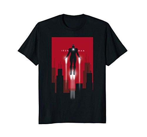 Art Graphic Tee - Mens Marvel Iron Man in Flight Deco Art Style Graphic T-Shirt 3XL Black