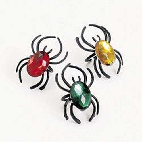 72 Plastic Spider Rings with Jewels ()