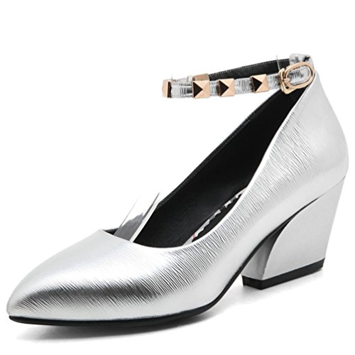 Pointed Women Platform Strap toe AIWEIYi Dress Pumps Silver Shoes Buckle qTxw61FE