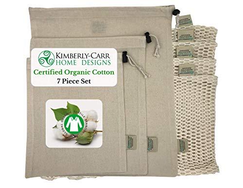 (THE ORGANIC COTTON MESH & MUSLIN REUSABLE PRODUCE & BULK BIN BAG SET | Premium Washable Drawstring Bags for Fruits, Veggies, Nuts, Grains | Zero Waste Alternative to Plastic Bags | 4 Sizes | 7 Bags)