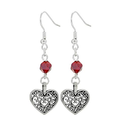 - Filigree Heart and Red Bead Earrings, Handmade Light Weight Silver Tone Dangle Women's Earring Set