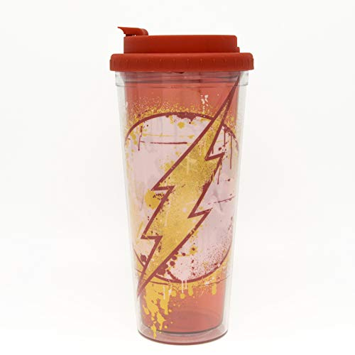 DC Comics FL11058M The The Flash Splatter Paint Logo Double Walled Plastic Travel Mug, 24-Ounce, Red and ()