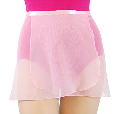 (Trienawear Big Girls' Women's12 Inch Chiffon Wrap Dance Skirt TR200S12 with Ribbon Waist Tie Black M/L)