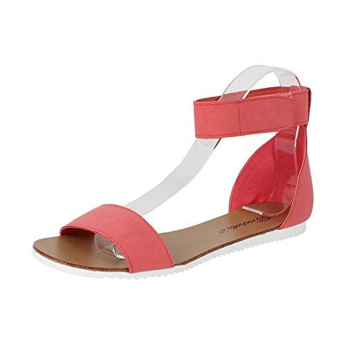 Breckelles Kvinners Minimalistisk Ankel Vikle Borrelås Komfort Flat Sandal Grapefrukt Pu