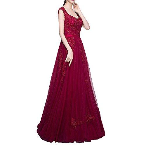 Damen Kleider Traeger Spitze A Bodenlang Abendkleider Braut Marie Abiballkleider Linie Weinrot Promkleider Breit Schwarz La HC4qwn