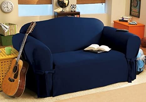 SOLID SUEDE Couch Cover 3 Pc. slipcover Set=Sofa + Loveseat + Chair Covers / Slipcovers 3 Pcs SET - NAVY BLUE color