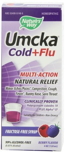 Nature's Way Umcka Cold and Flu Syrup, Berry, 4 Ounce (Umcka Cold Care Syrup)