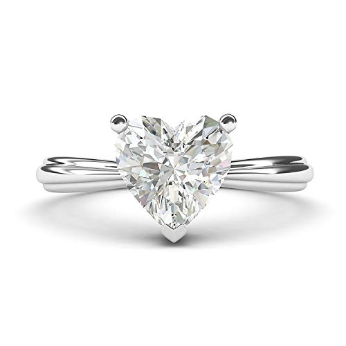Heart Shaped Diamond Solitaire Rings - 14k White Gold Simulated Heart-shaped Diamond Engagement Ring Raised Shank Promise Bridal Ring (6)