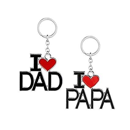Tinksky Set de 2 Piezas I Love papá Llavero te Amo Papa Llavero para el día del Padre papá Regalo