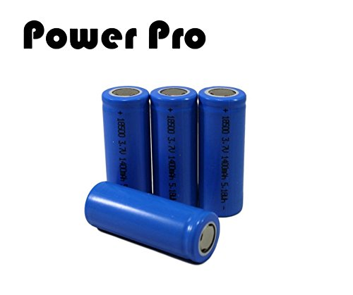 Power Pro 18500 ( 4 Pack) 3.7 li-ion 1400mAh Lithium Ion Flat Top Rechargeable Battery for tactical flashlights, solar lighting, security systems, digital calipers, measuring tools by PowerPro