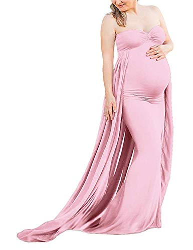JustVH Maternity Off Shoulder Chiffon Fitted Gown Maxi Photography Tube Dress for Photoshoot Baby Shower Dress Pink ()