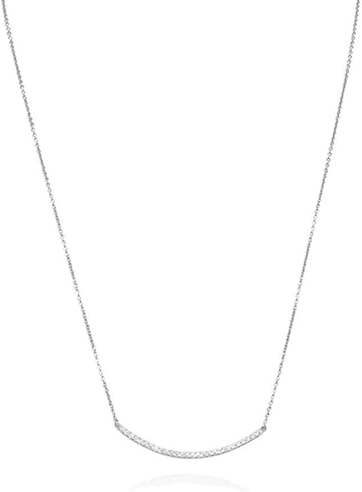 Elegant Touch 925 Sterling Silver Round Cubic Zirconia CZ Horizontal Round Curved Bar Slide Pendant Necklace for Women for Teen 14K Gold Plated 925 Silver
