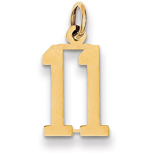 14k Yellow Gold Long Number Eleven Charm Pendant - # 11 - Yellow Gold
