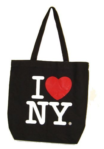 I Love New York Tote Bag - Black Canvas, New York Tote Bags, New York Souvenirs