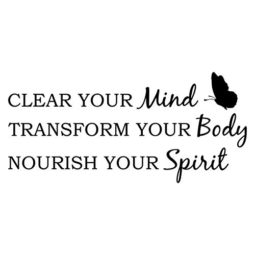 Empresal Yoga Wall Decal Decor Clear Your Mind Transform Your Body Nourish Your Spirit Vinyl Sticker Meditation Studio Lettering