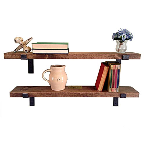 New England Wood Crafters Rustic Wall Shelves with Metal Brackets - Wall Mount Shelf | USA Handmade Wall Shelf (Set of 2-8'' x 2'') (Espresso, 36'')