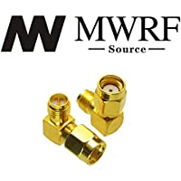 MWRF Source 2PCs Right Angle 90-Degree Gold Plated RP-SMA Male (No Pin) to RP-SMA Female (Pin) RF Coaxial Coax Adapter; Wi-Fi Antenna/Signal Booster/Repeaters / Radio/Extension Cable/FPV Drone