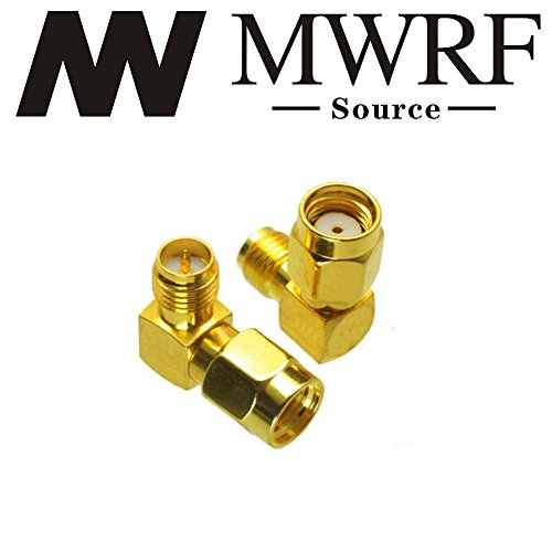 MWRF Source 2PCs Right Angle 90-Degree Gold Plated RP-SMA Male (No Pin) to RP-SMA Female (Pin) RF Coaxial Coax Adapter; Wi-Fi Antenna/Signal Booster/Repeaters / Radio/Extension Cable/FPV Drone -