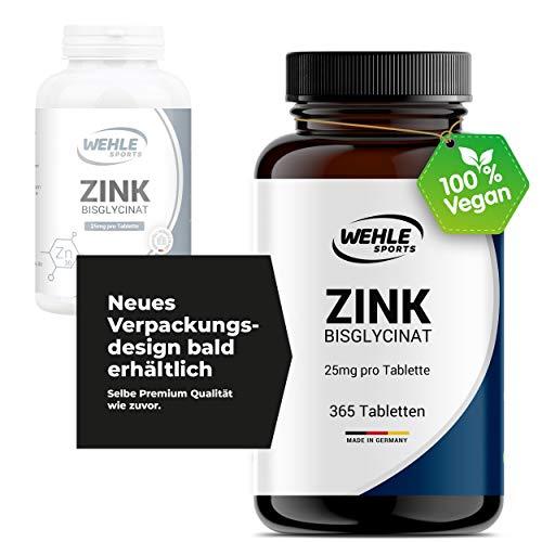 Wehle Zink Tabletten 365 Zink extra hochdosiert (25mg pro Tablette) - Premium Zink Bisglycinat Kapseln - Laborgeprüft, Vegan, hergestellt in DE