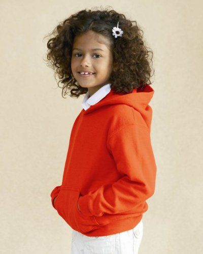 Gildan Heavy Blend Youth Hooded Sweatshirt, White , Large