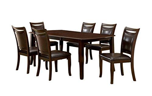 """Furniture of America Carlson 7-Piece Dining Table Set with 18-Inch Expandable Leaf, Dark Cherry - Chairs feature full padded leatherette upholstery Warm dark cherry finish; relaxing color tone 18"""" Expandable leaf; perfect space saving solution - kitchen-dining-room-furniture, kitchen-dining-room, dining-sets - 41nu56n02FL -"""
