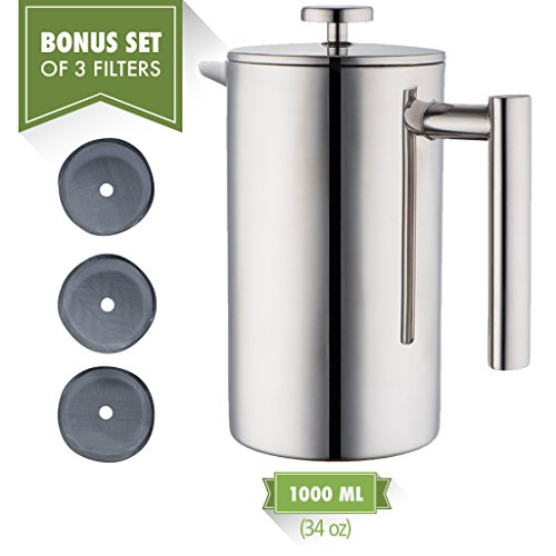 MIRA 34 oz Double Wall All Stainless Steel French Press For Coffee or Tea | Insulated Coffee Pot & Maker Keeps Brewed Coffee or Tea Warm for Hours (34 oz French Press with 3 Extra Filters)