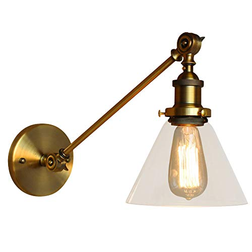 NIUYAO Vintage Industrial 1-Light Wall Lighting with Cone Clear Glass Shade Adjustable Swing Arm Antique Bedside Wall Lamp Decor Lighting Fixture Wall Sconces,Gold Finish 422676