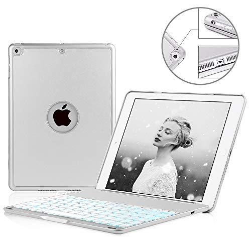 SENGBIRCH Compatible Keyboard Case iPad 9.7 2018(6th Gen) - iPad 9.7 2017(5th Gen) - iPad Air 1-130 Rotating - 7 Color Backlit Keyboard -Thin & Light - iPad Case with Keyboard, (Silver, 9,7) by SENGBIRCH