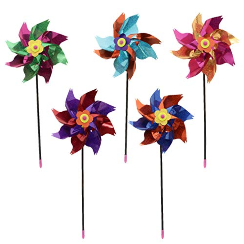 B Blesiya 10pcs Molinillos de Viento de Brillo Metálico Rueda de Viento Decorativo para Jardín Fiesta Boda Navidad DIY