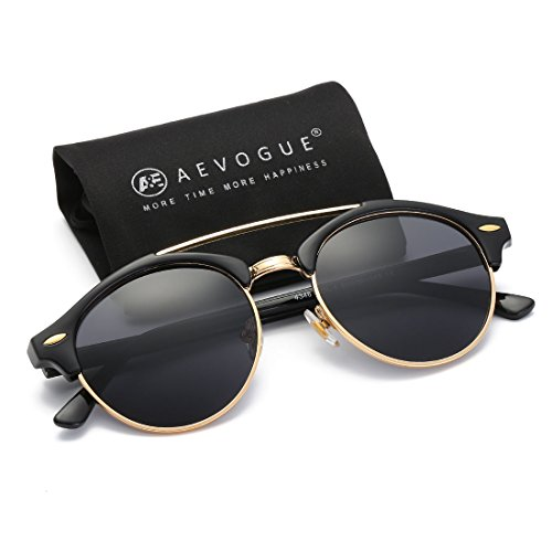 AEVOGUE Polarized Sunglasses Mens Semi-Rimless Retro Unisex Glasses AE0504 (Black, - Fifty Fifty Sunglasses
