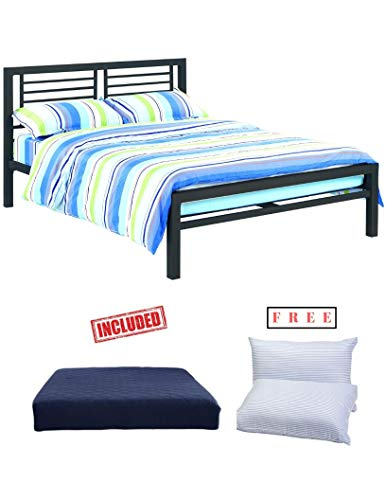 Your Zone Full Size Black Metal Platform Bed Black Furniture Headboard Footboard Frame with 6