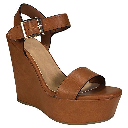 (BAMBOO Women's Single Band Wedge Platform Sandal with Quarter Strap, Tan PU, 5.5 B US )