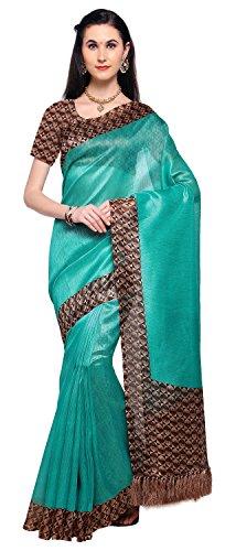 Rajnandini Teal Blue Tussar Silk Printed Party Wear Saree