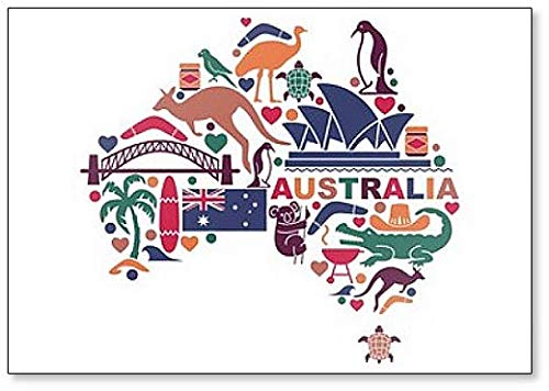 - Australian Icons and Symbols in the Form of a Map Classic Fridge Magnet