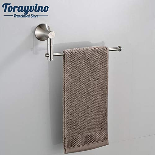 Ceramic Disc Wall Mount - Davitu Towel Racks - Davitu Nickel Brush Swivel Stainless Steel Wall Mount Bathroom Towel Rail Holder Rack Shelf Single Layer