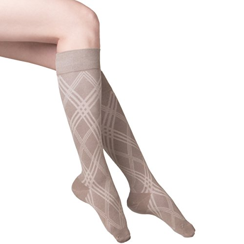 touch-womens-dress-compression-socks-15-20-mmhg-argyle-pattern-tan-medium