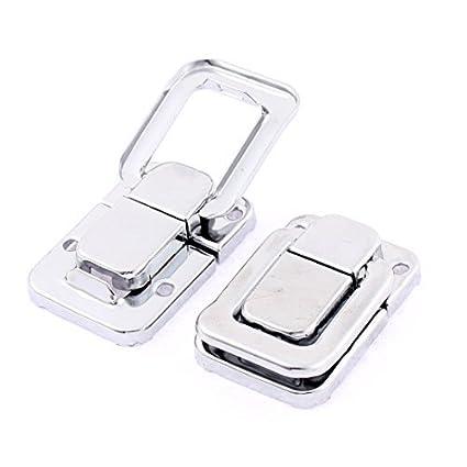 EbuyChX maleta Toolbox Trunk I-toggle ang aldaba Catch Silver Tone 2pcs
