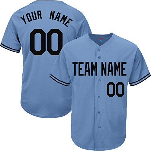 Light Blue Custom Baseball Jersey for Men Women Youth Practice Embroidered Team Name & Numbers S-8XL - Design Your - 49ers Custom Jersey