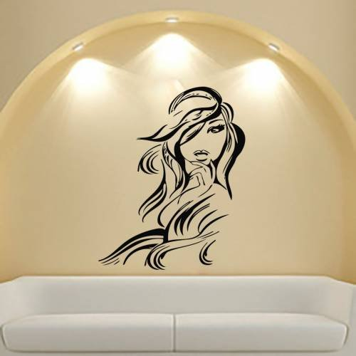 Housewares Vinyl Decal Beautiful Girl with Long Hair Home Wall Art Decor Removable Stylish Sticker Mural Unique Design for Beauty Salon Fast Shipping 50