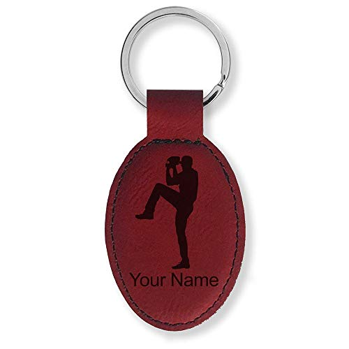 Oval Keychain, Baseball Pitcher, Personalized Engraving Included (Burgundy) ()