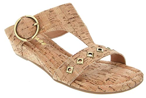 Rampage Women's Simara T Bar Cork Wedge Sandals with O Ring Buckle and Studs 7 Natural Cork
