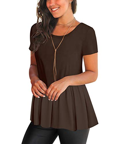 FHKDL Womens Casual Short Sleeve T Shirt Peplum Solid Color Tunic Tops Coffee Small